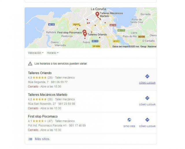 Tres resultados Google | SEO local